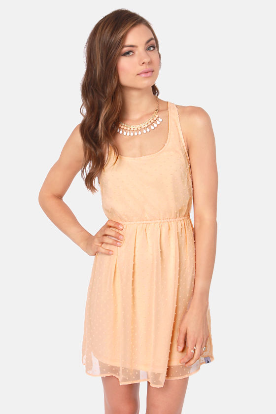 Volcom Sweet Dot Peach Dress at Lulus.com!