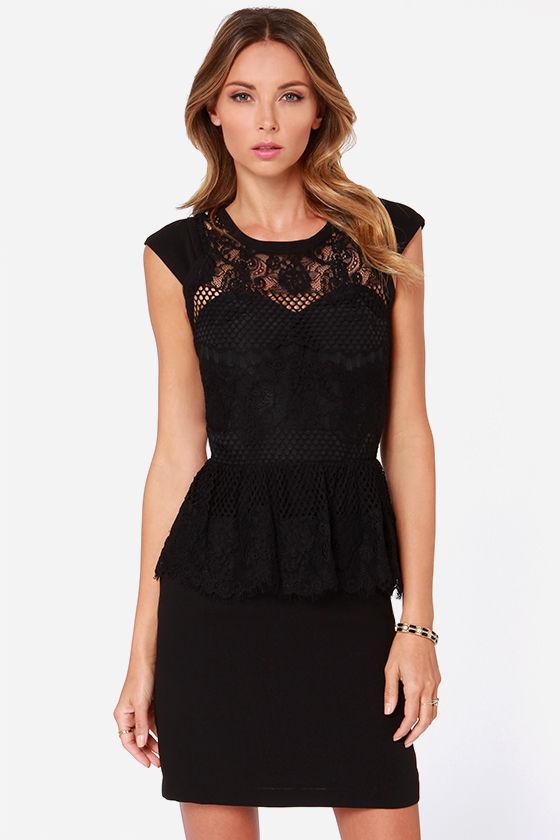 Lbd Black Dress Lace Dress Peplum Dress 9100