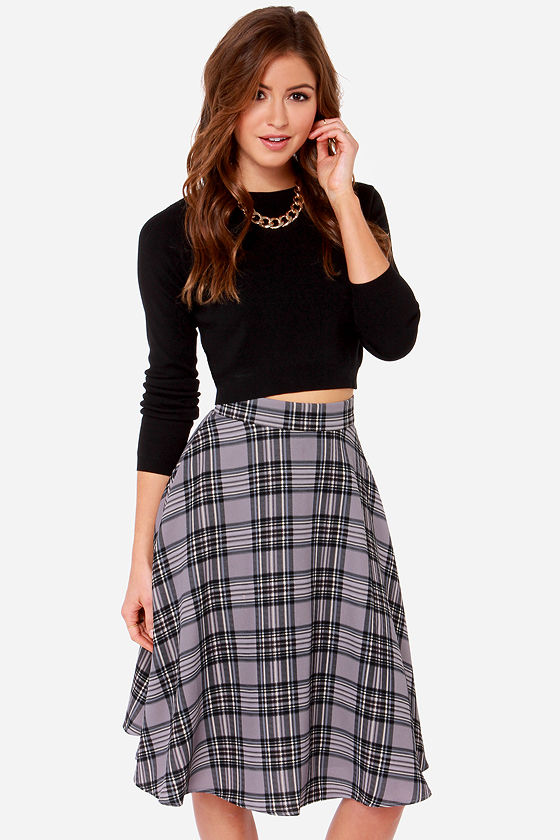 Plaid Skirt - Grey Skirt - Midi Skirt - $58.00