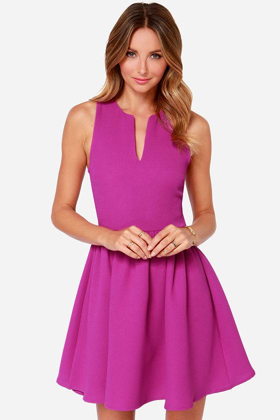 afe5243d9fd75 Cute Magenta Dress - Sleeveless Dress - Skater Dress -  49.00