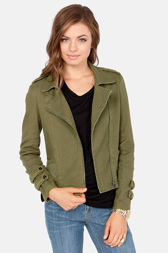 Black Swan Calgary Knit-Back Army Green Jacket at Lulus.com!