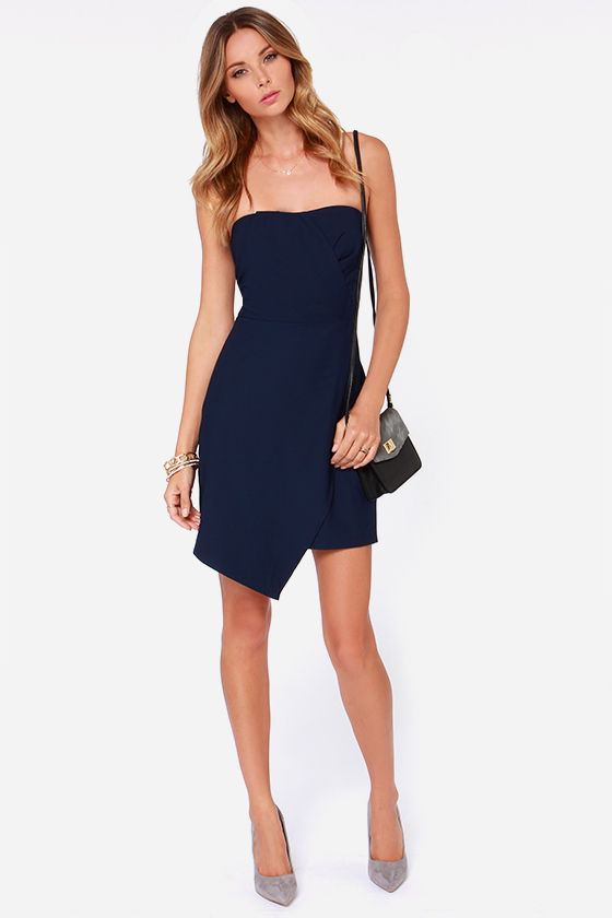 Navy Blue Dress - Strapless Dress - $91.00