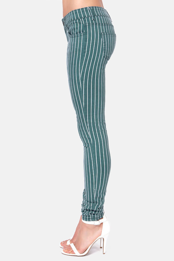 Others Follow Railroad Striped Blue Skinny Jeans at Lulus.com!