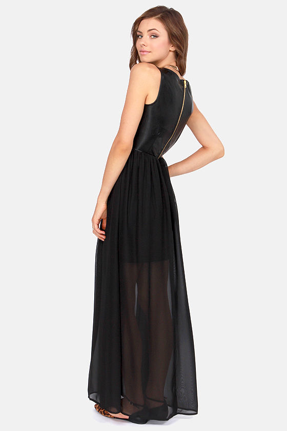White Crow Rolling Stone Black Vegan Leather Maxi Dress at Lulus.com!