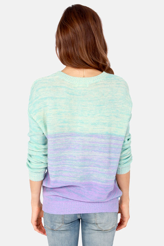 Fade Away Aqua and Lavender Sweater at Lulus.com!