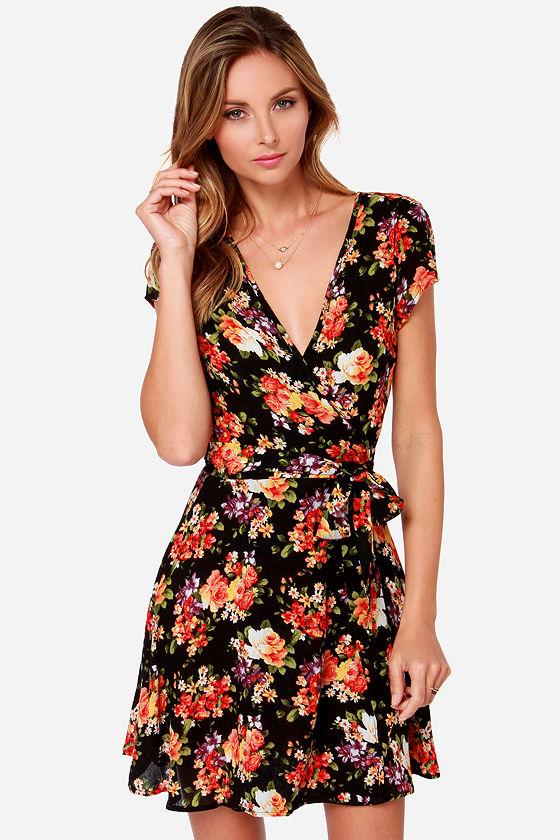 e9b5d92ab Black Dress - Wrap Dress - Floral Print Dress -  44.00