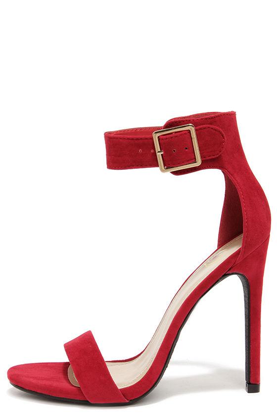 Sexy Red Heels - Single Sole Heels - Ankle Strap Heels - $27.00
