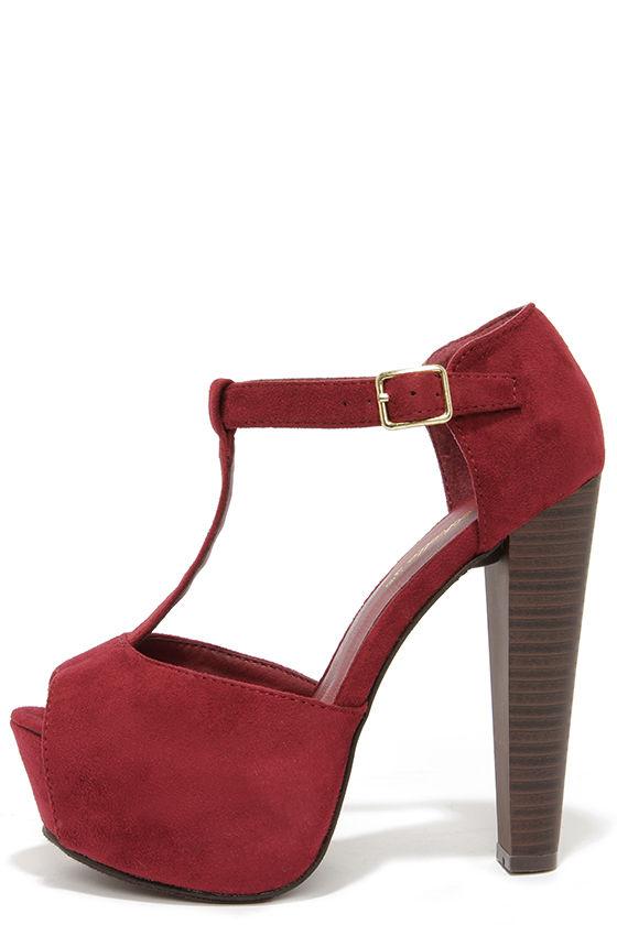 Cute Wine Red Heels - T-Strap Heels - Platform Heels - $32.00