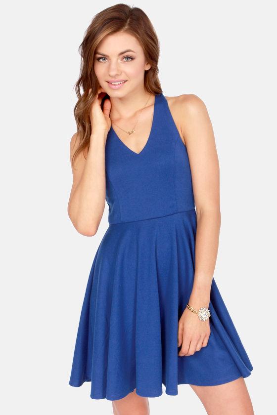 Crisscross The Line Royal Blue Dress at Lulus.com!