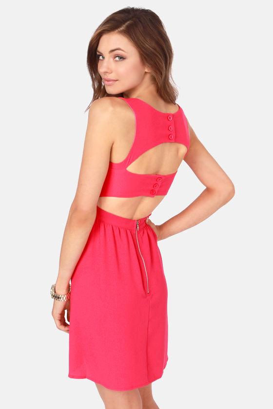 Hall Pass Cutout Fuchsia Dress at Lulus.com!
