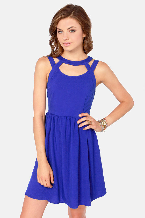 - Cute Royal Blue Dress - Cutout Dress - Backless Dress - $42.00