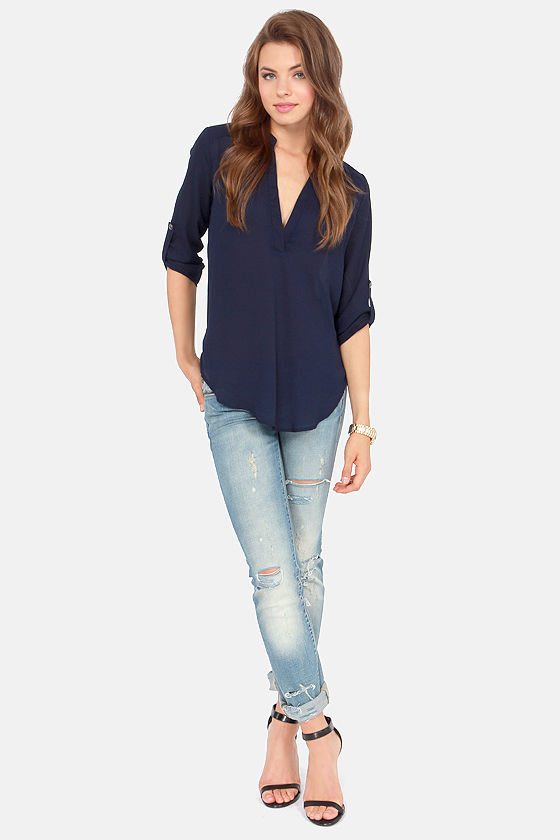 V-sionary Navy Blue Top at Lulus.com!