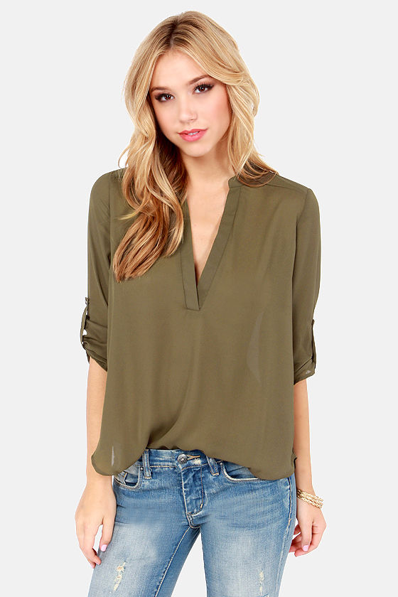 f2659c10897 Cute Olive Green Top - V Neck Top - Olive Top -  37.00
