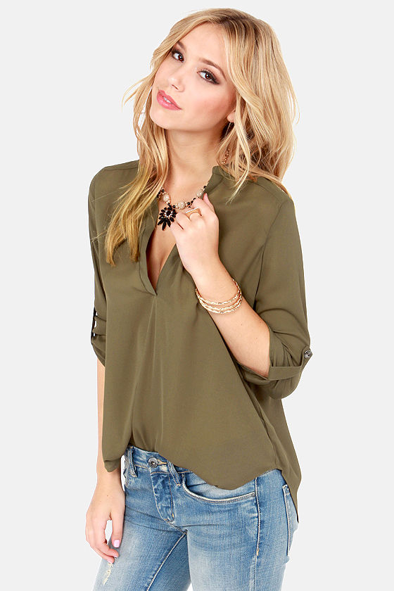 V-sionary Olive Green Top at Lulus.com!
