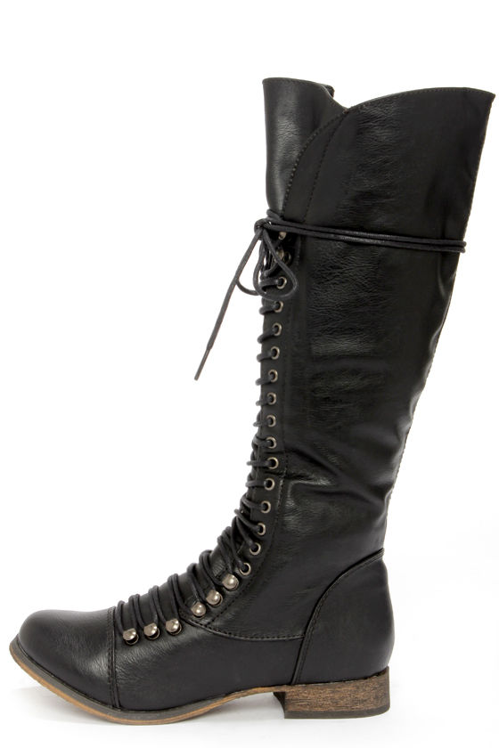 4a6952faa20 Cute Black Boots - Lace-Up Boots - Knee High Boots -  49.00