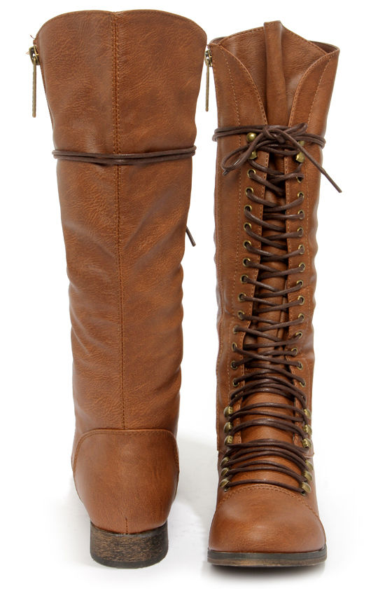 34a0365ecd6 Cute Tan Boots - Lace-Up Boots - Knee High Boots -  49.00