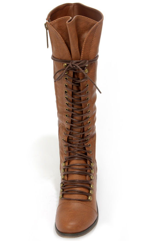 Georgia 35 Tan Lace-Up Knee High Boots at Lulus.com!