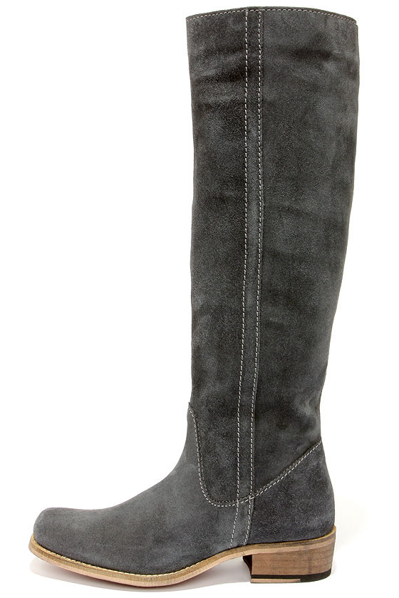 Cute Grey Boots - Suede Boots - Riding Boots - $179.00