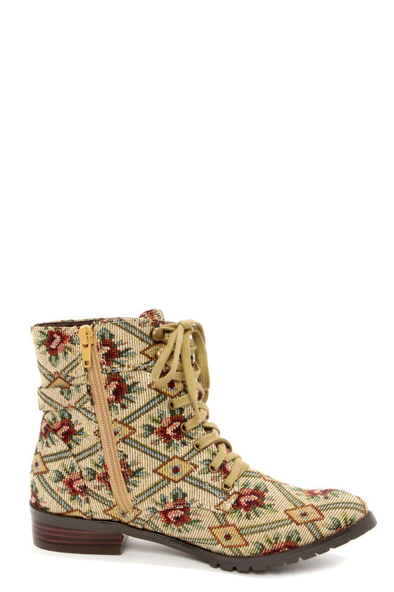 Restricted Halfmoon Tapestry Fabric Lace-Up Ankle Boots at Lulus.com!