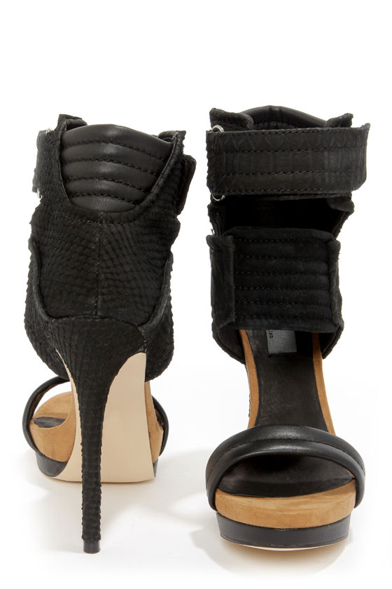 Mia Limited Edition Rocco Black Snakeskin High Heel Sandals at Lulus.com!
