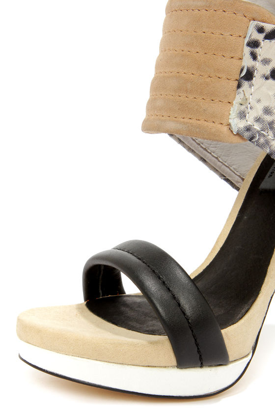 Mia Limited Edition Rocco Gray and Beige High Heel Sandals at Lulus.com!