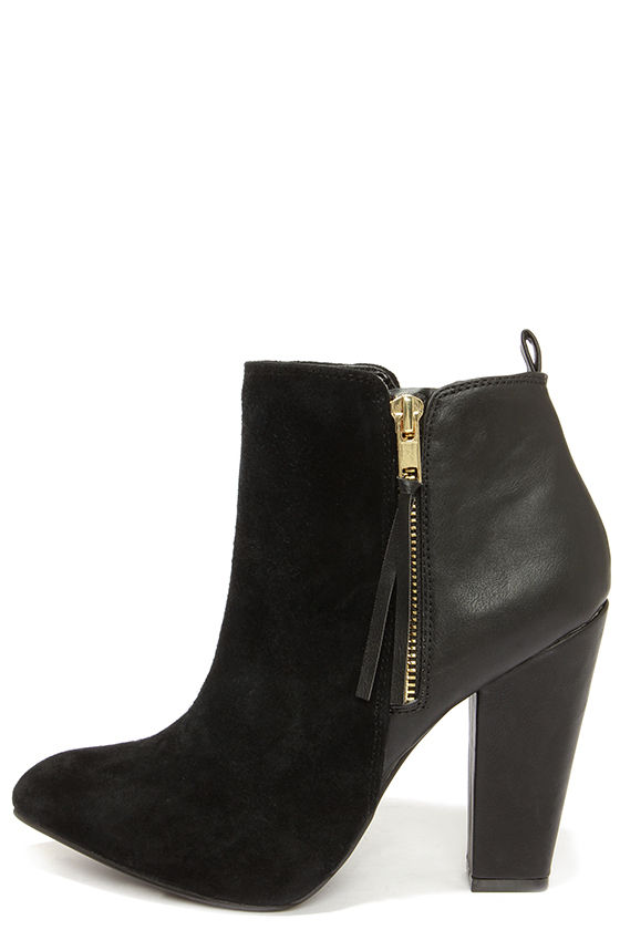 Steve Madden Jannyce Black Boots Suede Leather Boots
