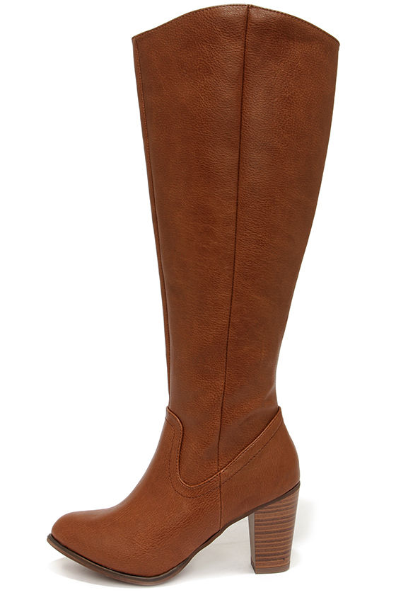 Cute Tan Boots - Knee High Boots - High Heel Boots - $46.00