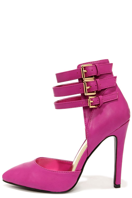 aab426322a38 Sexy Magenta Heels - Ankle Strap Heels - Pointed Toe Heels -  37.00