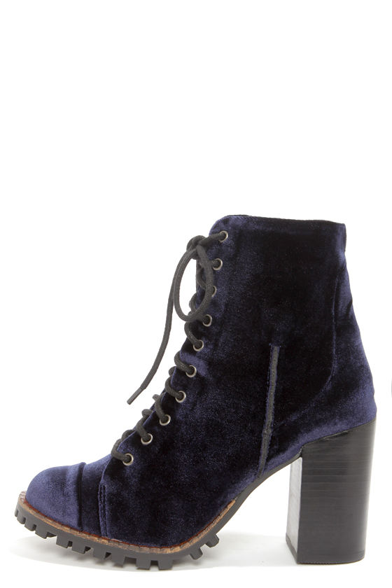 Report Signature Allon Navy Blue Velvet High Heel Booties at Lulus.com!