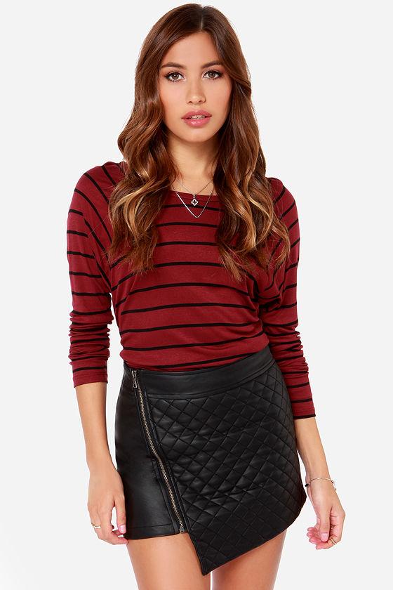 48b7aeb30 Black Skirt - Mini Skirt - Vegan Leather Skirt - Envelope Skirt - $34.00