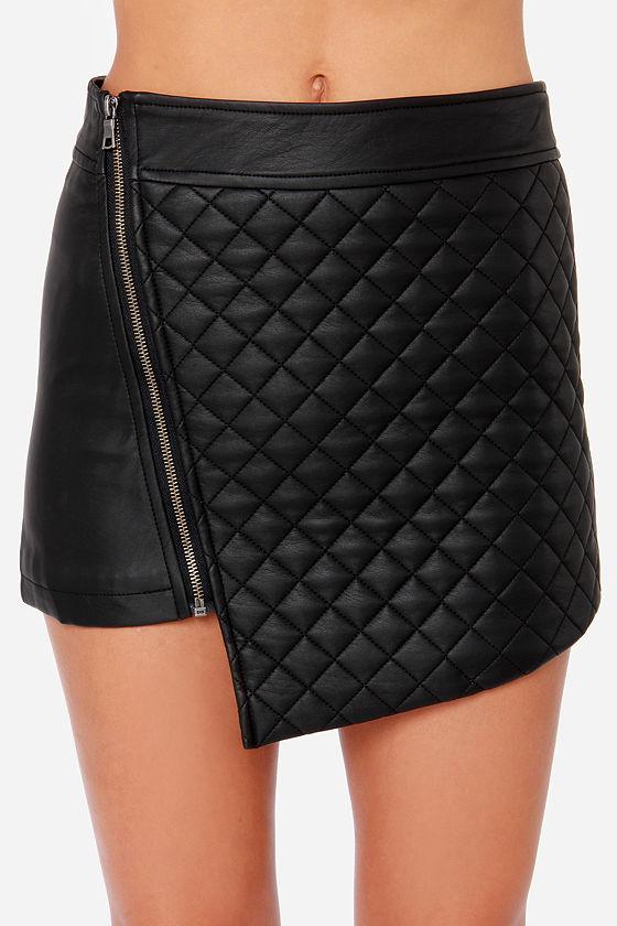 black skirt mini skirt vegan leather skirt envelope