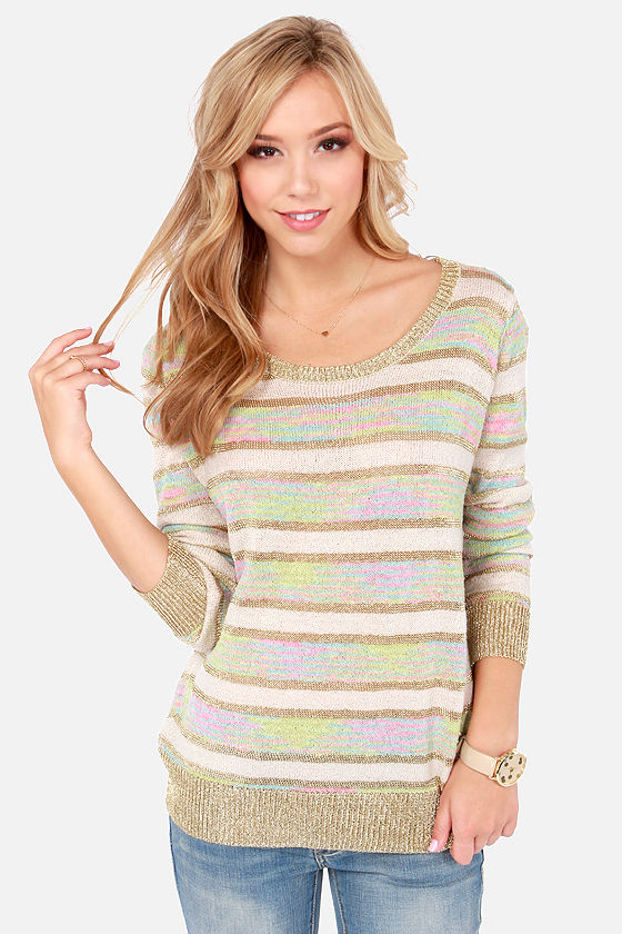 Reverse Good as Gold Striped Sweater at Lulus.com!