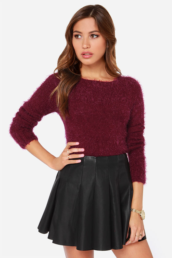 Cute Burgundy Sweater - Cropped Sweater - Fuzzy Sweater - $34.00