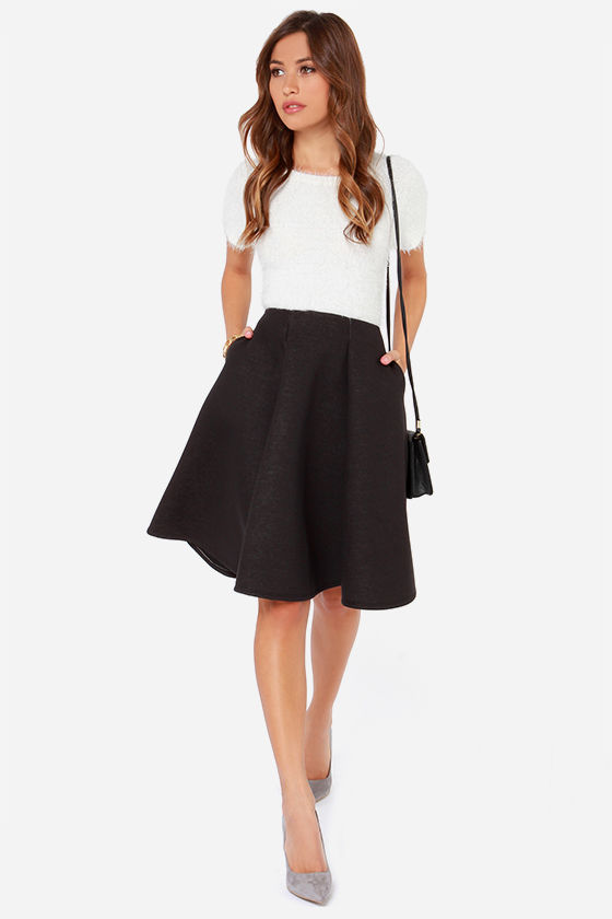 Black Skirt - Flared Skirt - Midi Skirt - $45.00