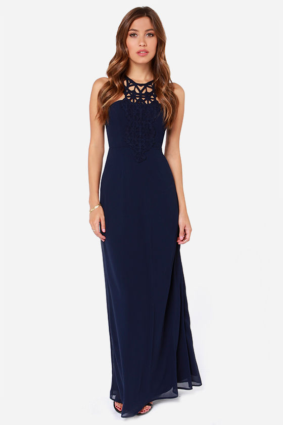 84b06873a4c LULUS Exclusive Gala s Best Friend Navy Blue Maxi Dress