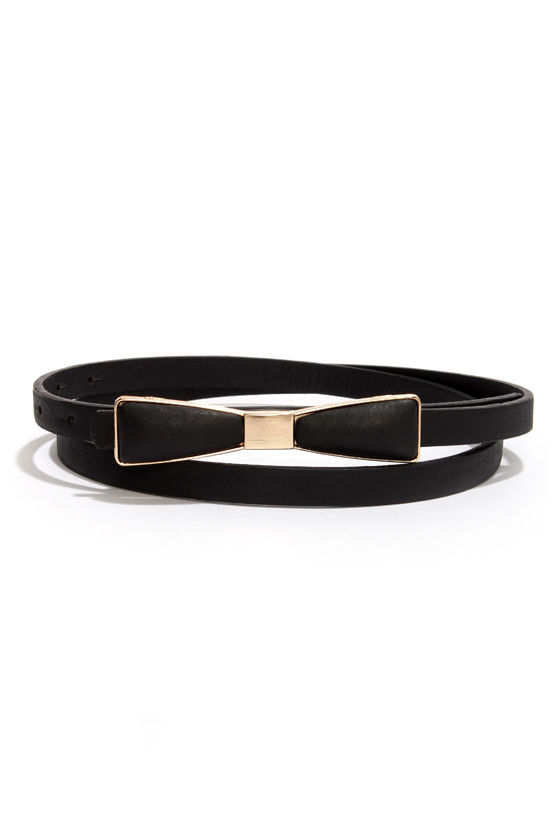 Decoration of Independence Skinny Gold and Black Bow Belt at Lulus.com!