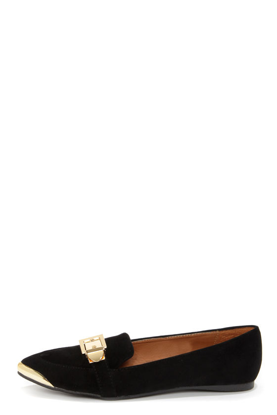 Mila 34 Black and Gold Pointed Smoking Loafers at Lulus.com!