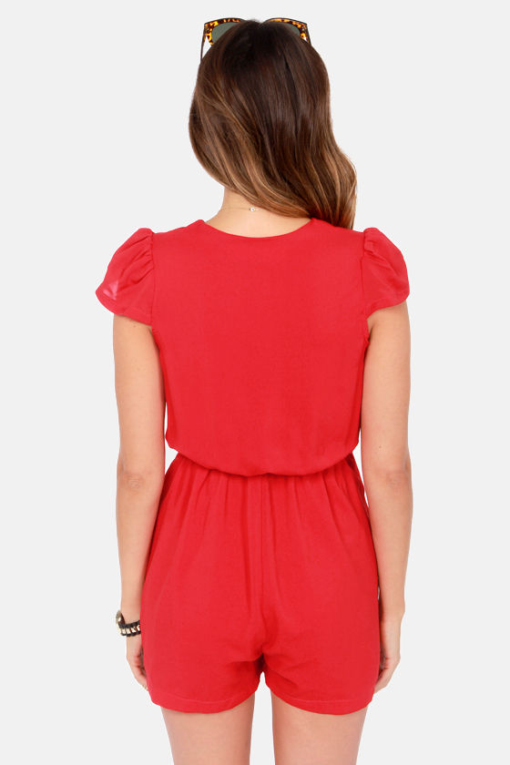 Reverse Cutting Garden Red Romper at Lulus.com!