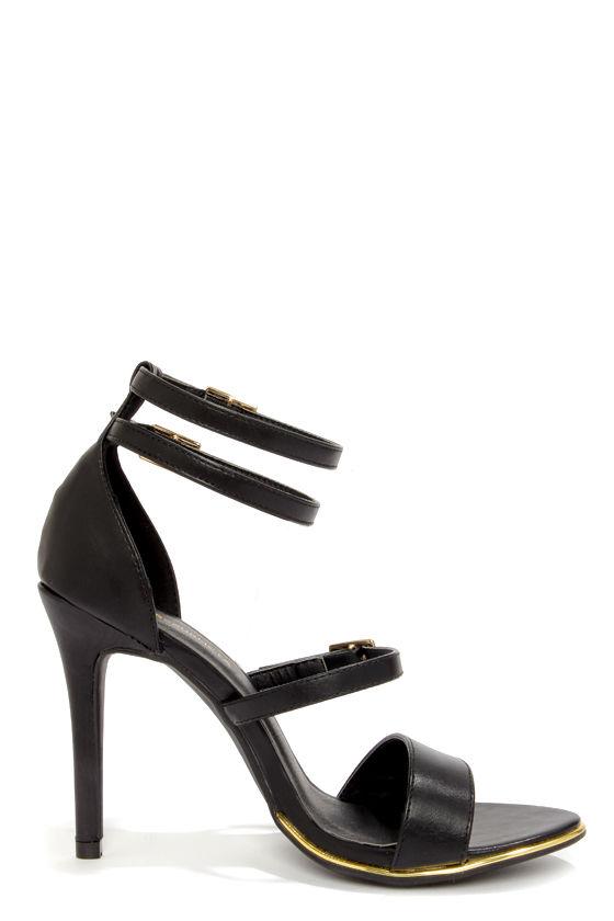 Shoe Republic LA Gemini Black Ankle Strap Heels at Lulus.com!