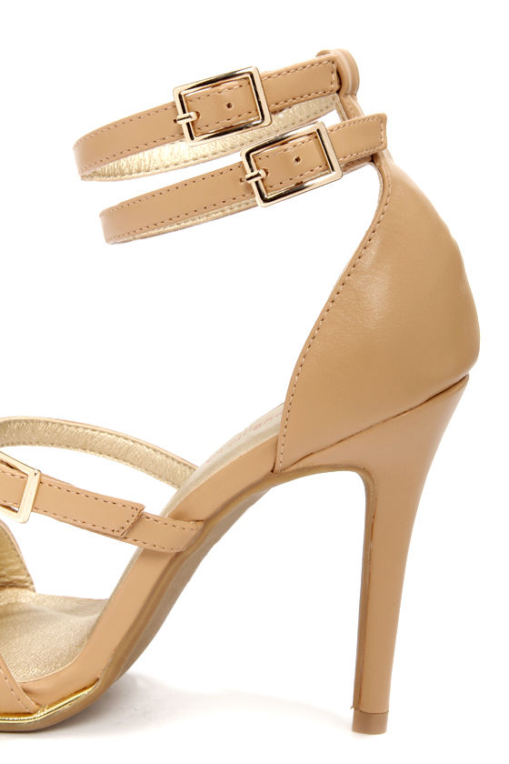 Shoe Republic LA Gemini Camel Ankle Strap Heels at Lulus.com!