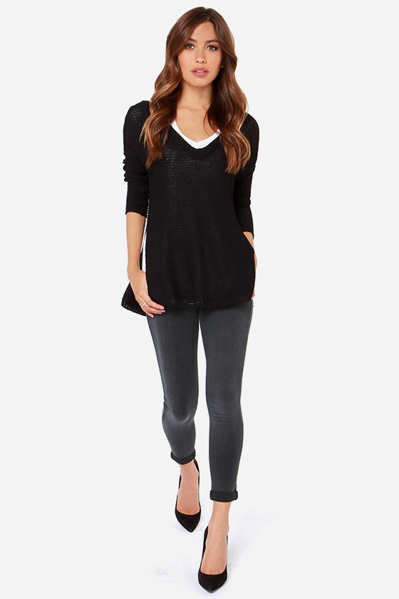 Black Jeans - Cropped Jeans - Mid-Rise Jeans - Skinny Jeans - $58.00