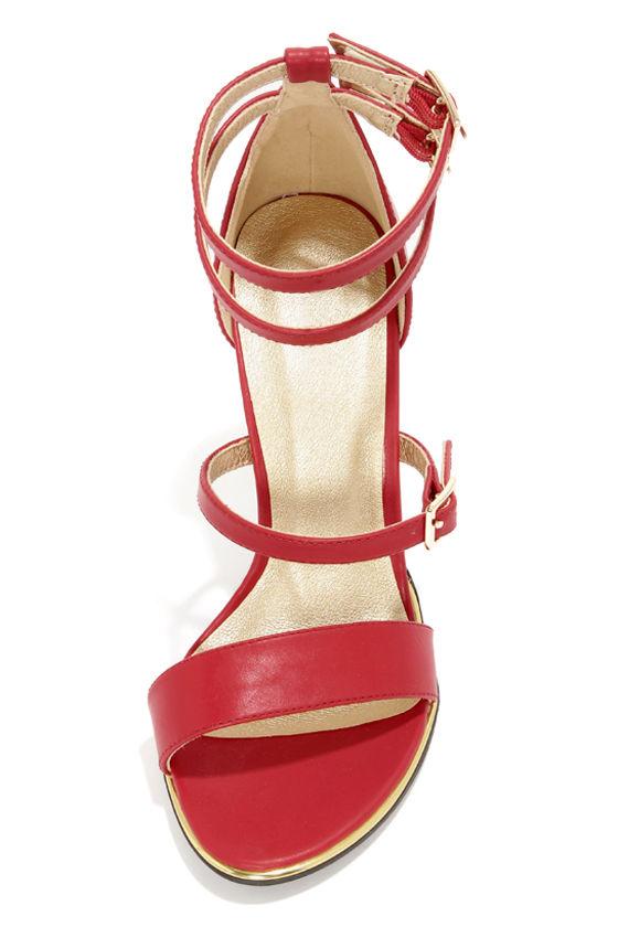 Shoe Republic LA Gemini Red Ankle Strap Heels at Lulus.com!