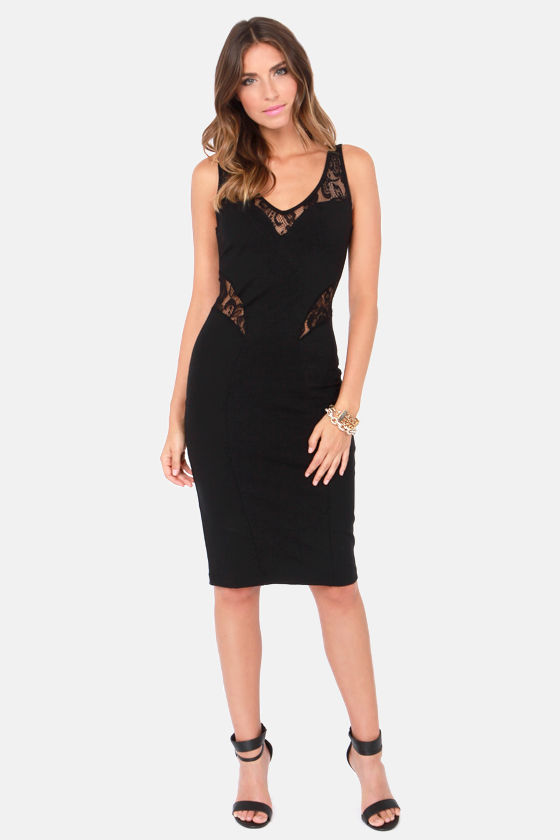 Make an Entrance Black Lace Dress at Lulus.com!