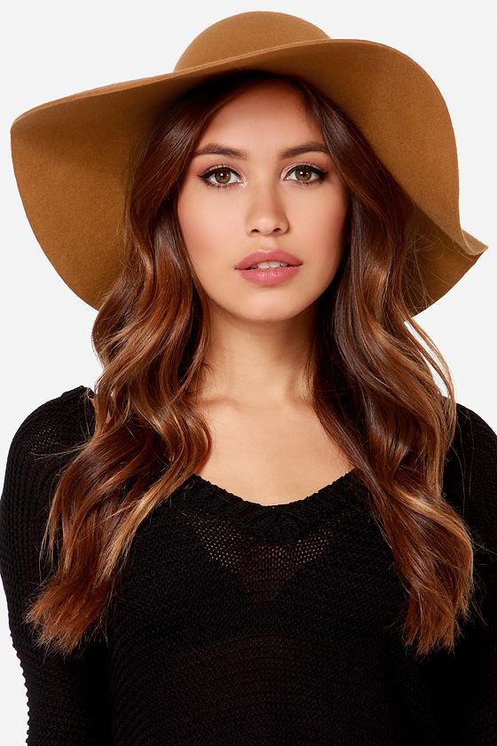 Floppy tan felt hat to wear with a formal little black dress