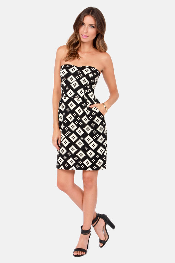 Miss Geo Cream and Black Print Dress at Lulus.com!