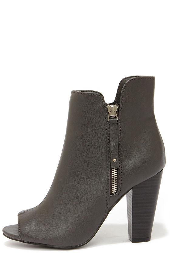 Sassy Grey Booties - Peep Toe Booties - Vegan Leather Booties -  35.00 560526eacc43