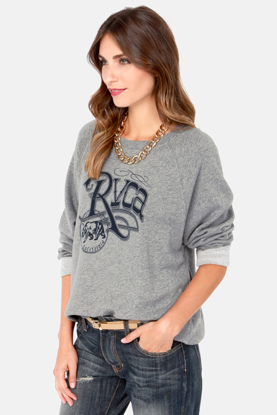 RVCA Republic Fleece Grey Sweatshirt at Lulus.com!