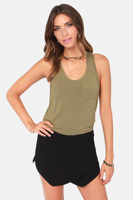 Tanks a Million Olive Green Tank Top at Lulus.com!