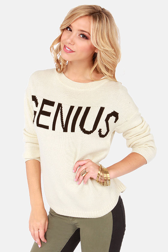 Smarty Rock Ivory Sweater at Lulus.com!