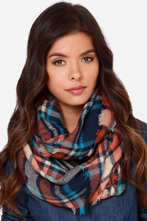 0e0099dc05ca6 Soft Orange Scarf - Plaid Scarf - Infinity Scarf -  18.00